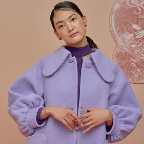 Lump Sleeve Coat-Lavender