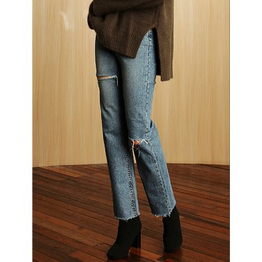 High - Waist Slit Jeans _ Denim Blue