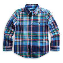 폴로 키즈 남아 5-7세 플래드 코튼 포플린 셔츠(CWPOWOVB6810244B90)