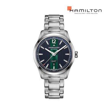 H43515141 브로드웨이 데이 데이트 오토 42mm 블루 메탈 남성 시계