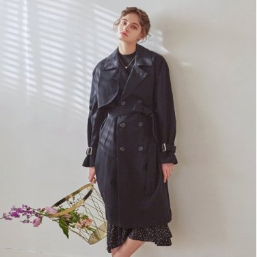 LOOSE DOUBLE TRENCH COAT_BLACK