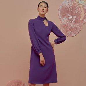 Fake Collar Dress-Purple