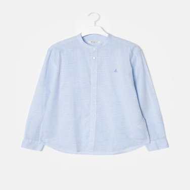 S/S [SLIM] 스카이 블루 스트라이프 서커 헨리넥 셔츠(BC9364A25Q)