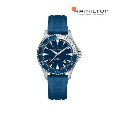 H82345341 카키 네이비 스쿠버 오토 40mm 블루 다이얼 러버 남성 시계