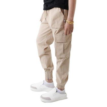 (UNISEX) Easy Zip-up Cargo-Jogger Pants (BEIGE)