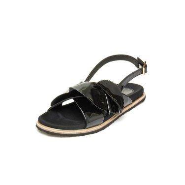 Ruffle patent sandal(black) DG2AM19024BLK