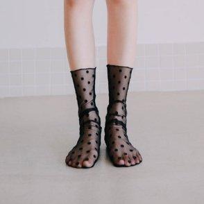 줄리 시스루 도트 패턴 패션양말