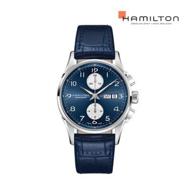 H32576641 재즈마스터 마에스트로 오토크로노 41mm 블루 가죽 남성 시계