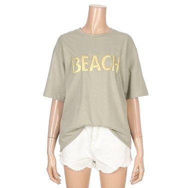 비치 골드 레터링 티셔츠 (BR1TS064L0)