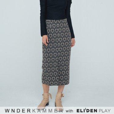 [분더캄머:WNDERKAMMER] Coloration Jacquard Skirt_Charcoal (WK9F0-CJSK040)