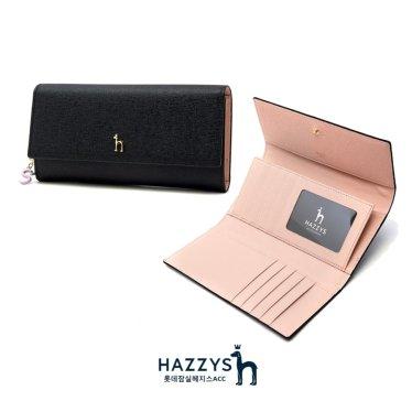 [선물포장]HIWA0E602BK_블랙 가죽 골드퍼피 로고 레터링 장식 장지갑