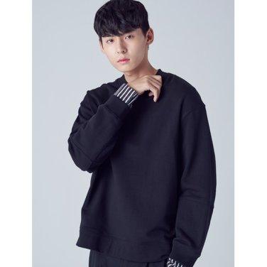 남성 블랙 절개 스트라이프 소매 우븐 스웨트 셔츠 (268941WY15)