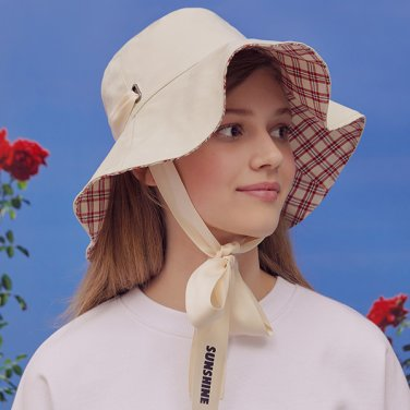 (CH-19103) REVERSIBLE CHECK FLARE BUCKET HAT IVORY