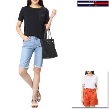 여성 레이스 포켓 반팔 티셔츠 TFMS2KOE40D0