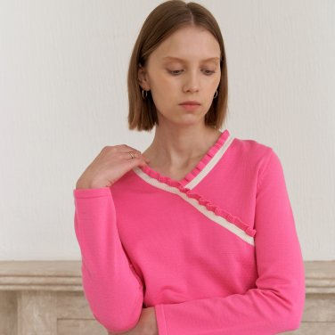 V SHIRRING KNIT_PINK