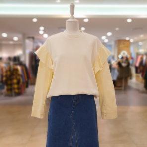 소매 러플 배색 티셔츠 C201MSM003