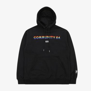 (SM) 남여공용 루즈핏 커뮤니티 54 콜라보 후드 티셔츠 FS2POB1C03X_BLK