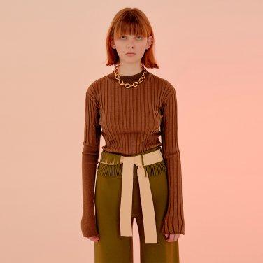 Luton Unbalance Sleeves Knit Top_Brick Red (JC20SSKT03BR)
