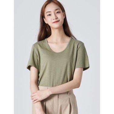 여성 카키 베이직 슬럽 U넥 티셔츠 (329742LYTH)