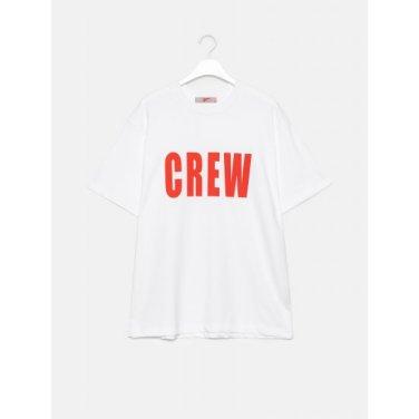 남성 레드 코튼 배색 빅 프린팅 반소매 티셔츠 (429742FY26)