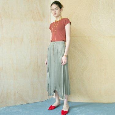 Folded Pleats Skirt [Light Khaki] (JC18FWSK02_LK)