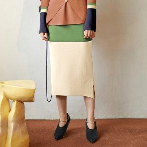 Ossen Zipper Pointed Skirt_Citrus Green (JC19FWSK14CG)