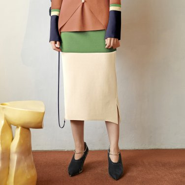 Ossen Zipper Pointed Skirt_Citrus Green (JC19FWSK14CG)