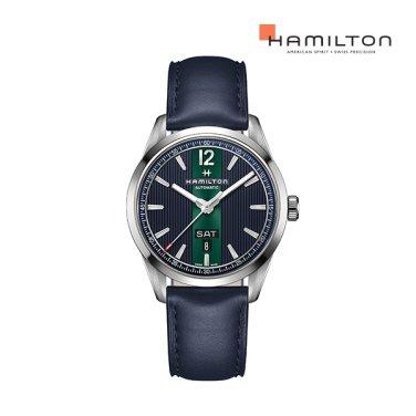 H43515641 브로드웨이 데이 데이트 오토 42mm 블루 가죽 남성 시계