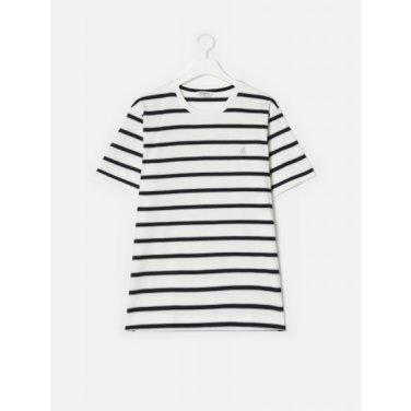 화이트 멀티 스트라이프 로고 티셔츠 (BC9342A331)