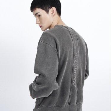 Lettering Section Pigment Sweatshirt(BLACK)