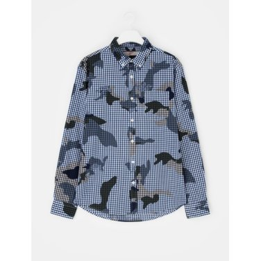 남성 블루 배색 카모플라주 체크 셔츠 (258764WY4P)