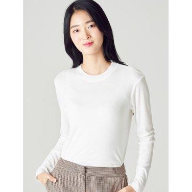 여성 화이트 리브 롱 슬리브 티셔츠 (328741CYF1)