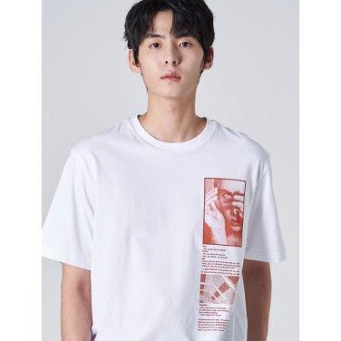 남성 화이트 포인트 그래픽 프린팅 티셔츠 (429742DY41)