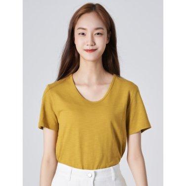 여성 머스터드 베이직 슬럽 U넥 티셔츠 (329742LYTG)