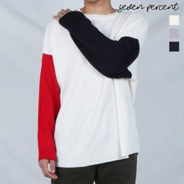 [세븐퍼센트] (MD)소매배색 오버핏 라운드 니트