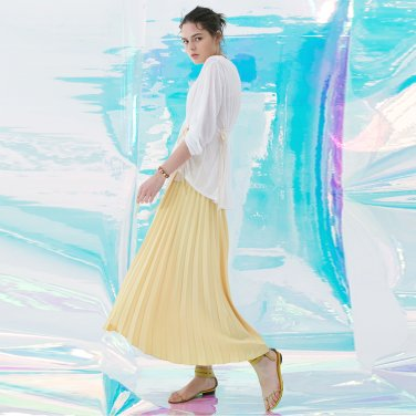 Folded Pleats Skirt [Soft Yellow] (JC18FWSK02SY)