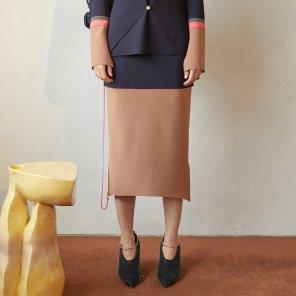 Ossen Zipper Pointed Skirt_Navy (JC19FWSK14N)