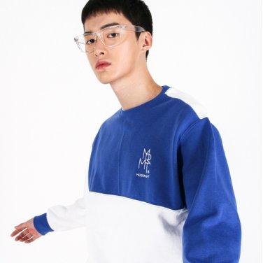 (UNISEX)Color fleece-lined Sweatshirt (BLUE&WHITE)