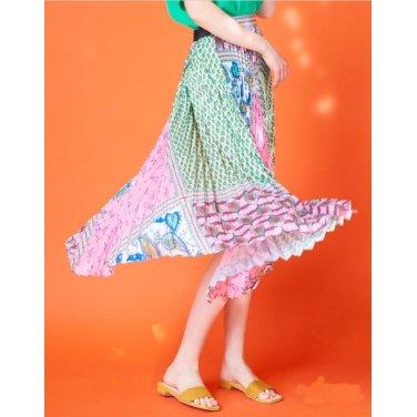 핑크 패턴블록 플리츠스커트JSSK9B670P2