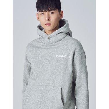 남성 그레이 레터링 기모 후드 티셔츠 (258Y41WY13)