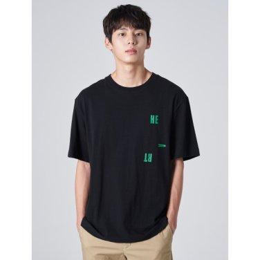 남성 블랙 레터링 프린트 라운드넥 티셔츠 (429742EY15)