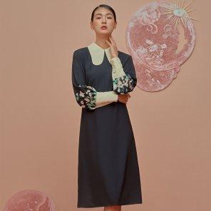 GOCORI Collar Dress-Pale Black