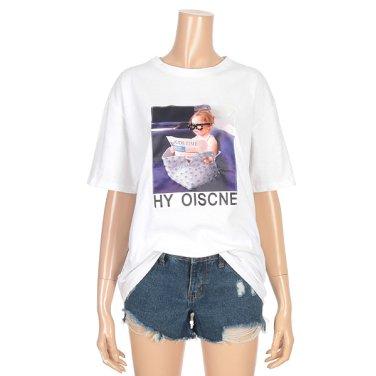 프린팅 비즈 루즈핏 반팔 티셔츠 (IY9ME2140)