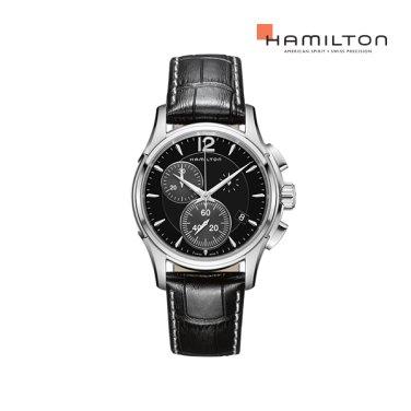 H32612731 재즈마스터 크로노 쿼츠 42mm 블랙 다이얼 블랙 소가죽 남성 시계