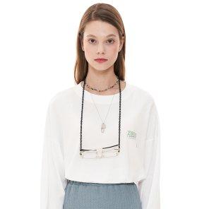 (CTC1) 피그먼트 로고 긴팔 티셔츠 화이트