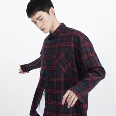 (UNISEX)Over-fit Green Omber Check-Shirt