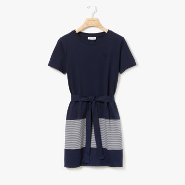 여성 크루넥 마린 스트라이프 코튼 티셔츠 원피스EF5552-19B.HHW.JI