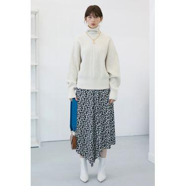 [테이즈] Leopard Unbalance Hemline Skirt_Whale Grey