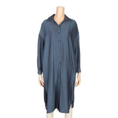 데님 박스 트임 롱 카라 셔츠 (BCOC334-A)
