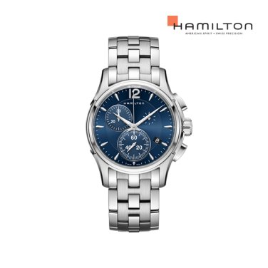H32612141 재즈마스터 크로노 쿼츠 42mm 블루 다이얼 브레이슬릿 남성 시계